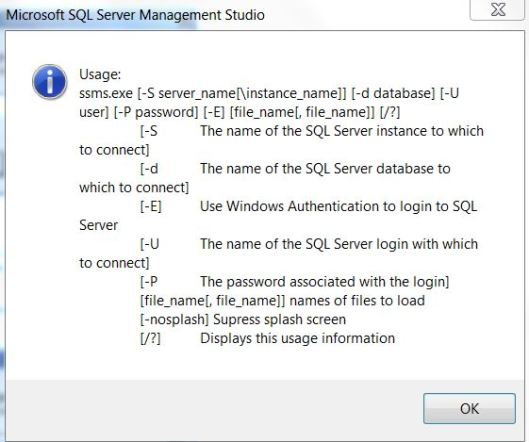 SSMS Quick start option list